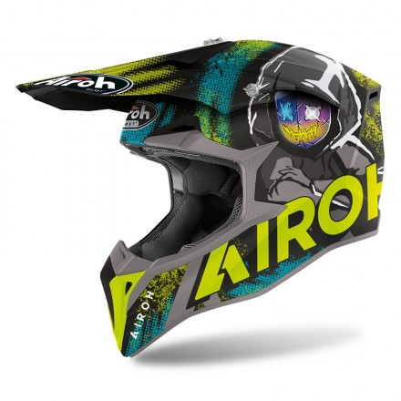 Casco moto cross Airoh Wraap Alien giallo yellow matt enduro motard off road helmet casque