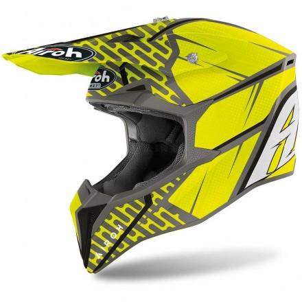 Casco moto cross Airoh Wraap Idol antracite giallo yellow matt enduro motard off road helmet casque
