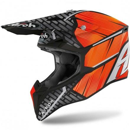Casco moto cross Airoh Wraap Idol arancione orange matt enduro motard off road helmet casque