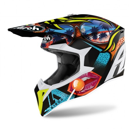 Casco moto cross Airoh Wraap Lollipop enduro motard off road helmet casque