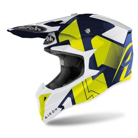 Casco moto cross Airoh Wraap Raze blu giallo yellow enduro motard off road helmet casque