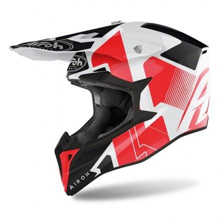 Casco moto cross Airoh Wraap Raze bianco rosso white red enduro motard off road helmet casque