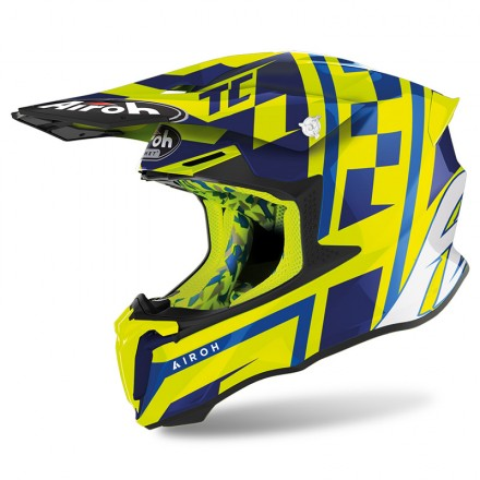 Airoh Twist 2.0 TC21 giallo fluo blu lucido yellow gloss enduro motard off road helmet casque