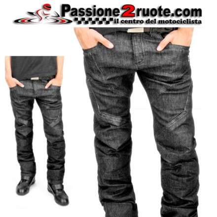 Pantaloni Jeans moto con protezioni Oj Muscle man nero black pant