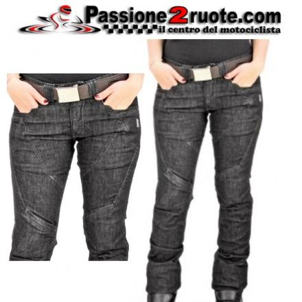Pantaloni Jeans donna moto con protezioni Oj Muscle Lady nero black pants