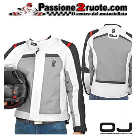 Giacca moto doppio strato impermeabile Oj Shot nero bianco black white waterproof jacket