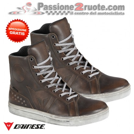 Scarpe moto impermebili Dainese Street Rocker D-wp waterproof marrone dark brown shoes