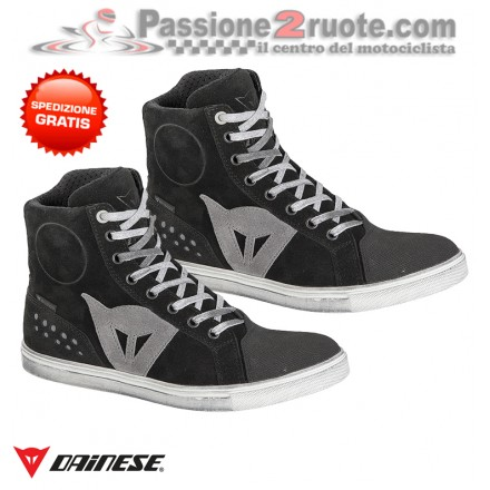 Scarpe moto donna impermeabili Dainese Street Biker Lady D-WP nero grigio black Antracite woman shoes