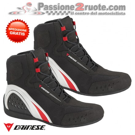 Scarpe moto impermeabili Dainese Motorshoe D-wp waterproof nero bianco rosso black white red shoes
