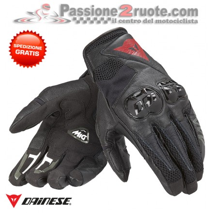Guanti moto pelle Dainese Mig C2 nero rosso black red leather gloves