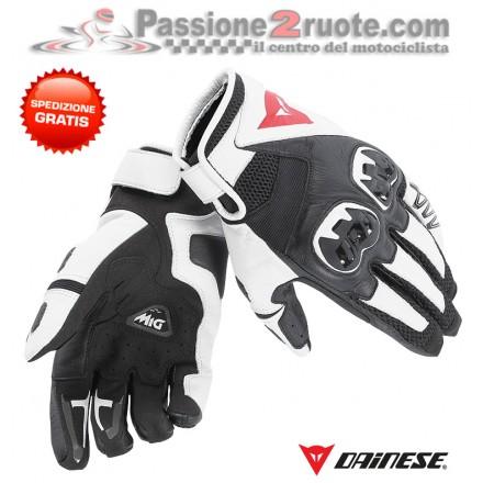 Guanti moto pelle tessuto Dainese Mig C2 bianco nero white black gloves